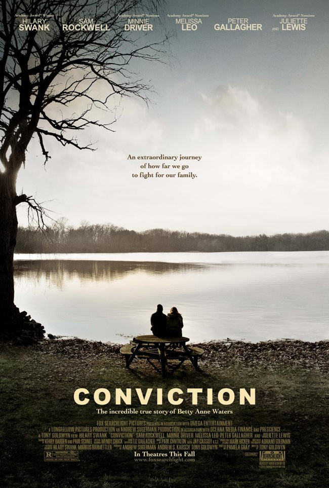 The movie poster for Conviction with Hilary Swank, Sam Rockwell and Minnie Driver