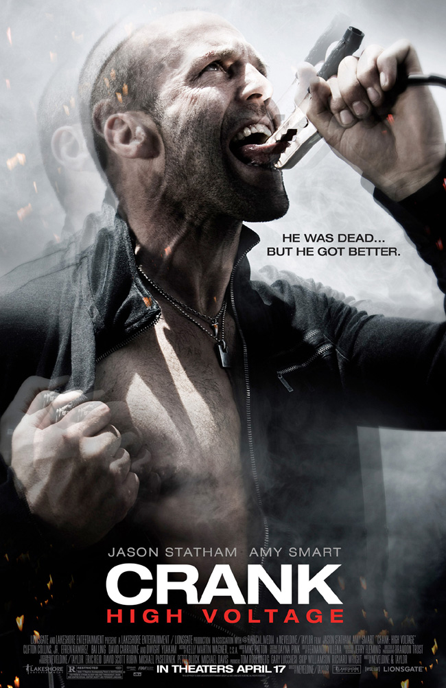 The poster for Crank High Voltage with Jason Statham and Amy Smart