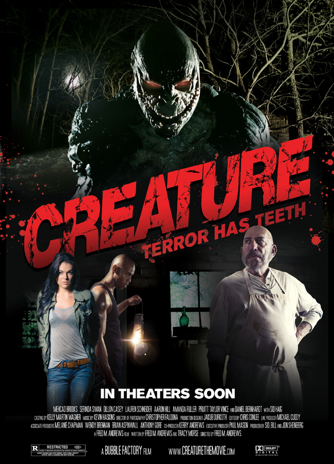 The movie poster for Creature with D'Arcy Allen, Daniel Bernhardt and Mehcad Brooks