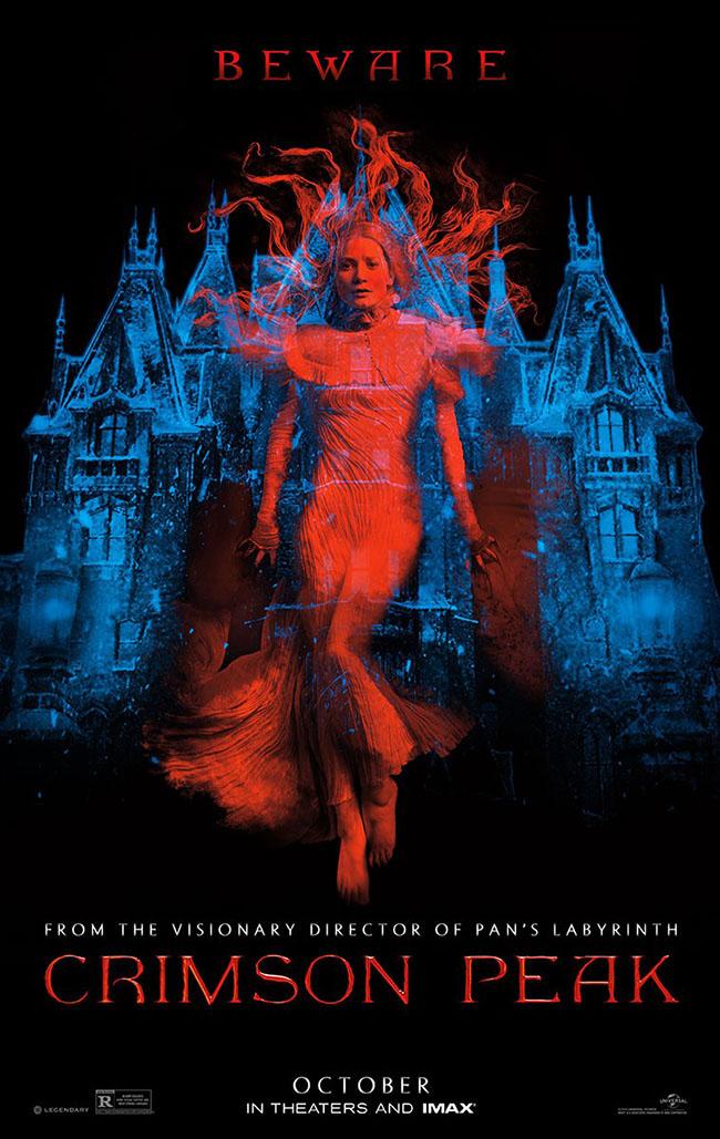 The movie poster for Crimson Peak from Guillermo del Toro starring Mia Wasikowska