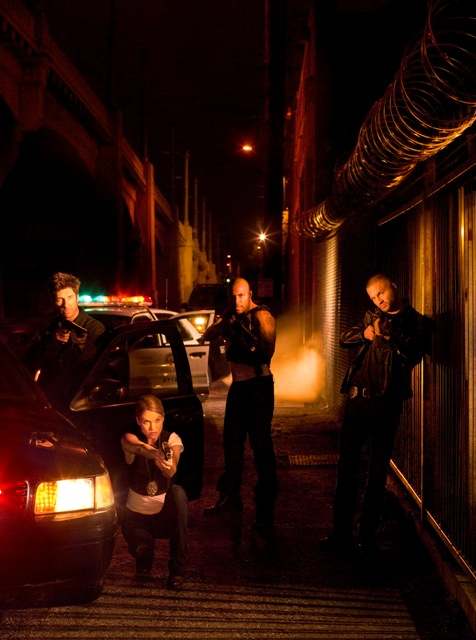 Dylan McDermott, Nicki Aycox, Omari Hardwick and Logan Marshall-Greene in TNT's Dark Blue