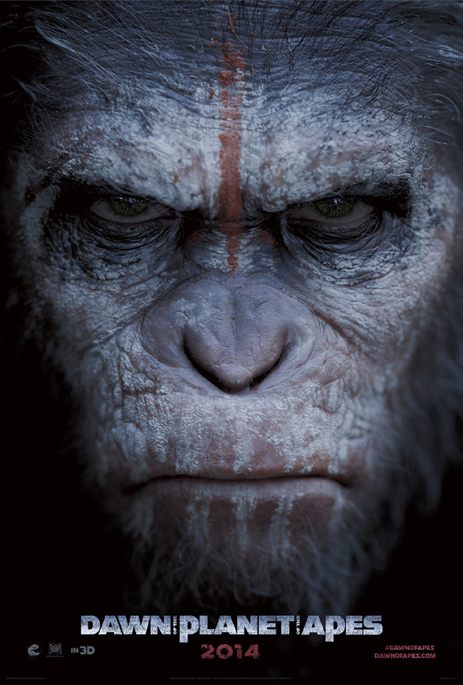 The movie poster for Dawn of the Planet of the Apes starring Gary Oldman and Keri Russell