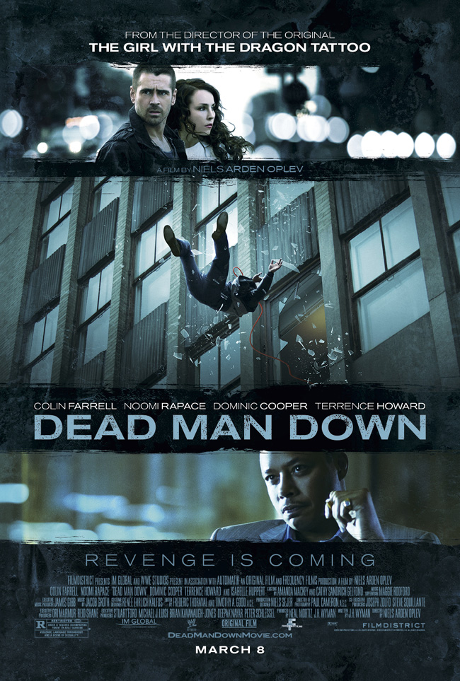 The movie poster for Dead Man Down starring Colin Farrell and Noomi Rapace