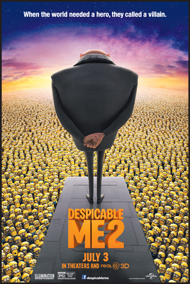 The movie poster for Despicable Me 2 starring Steve Carell and Russell Brand
