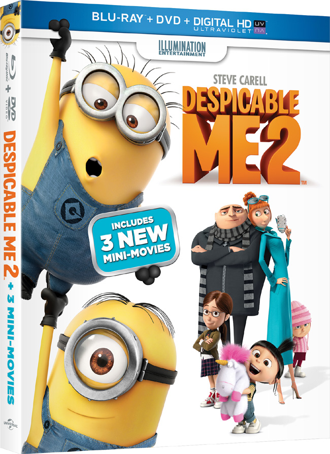 Despicable Me 2 with Steve Carell and Kristen Wiig came to Blu-ray and DVD combo pack on Dec. 10, 2013