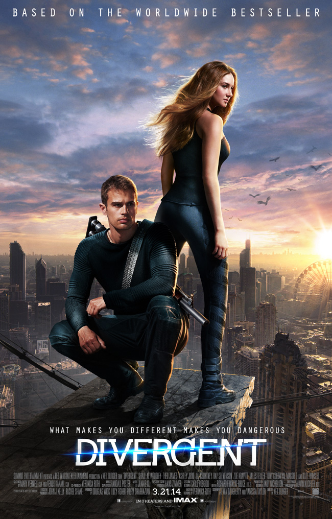 The movie poster for Divergent with Shailene Woodley and Theo James
