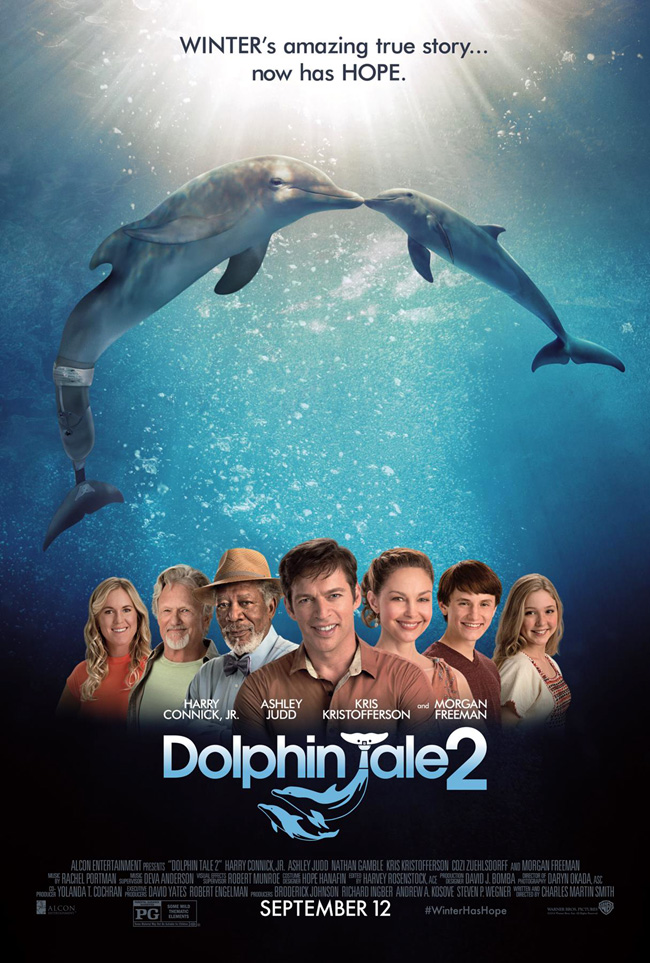 The movie poster for Dolphin Tale 2 starring Harry Connick Jr.