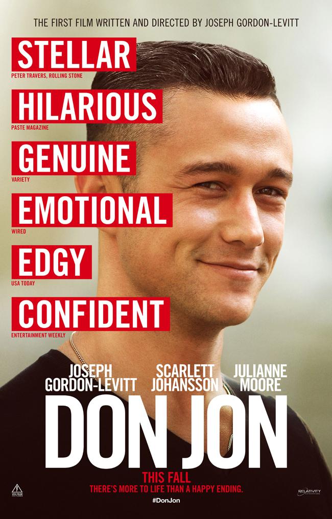 The movie poster for Don Jon starring Joseph Gordon-Levitt and Scarlett Johansson
