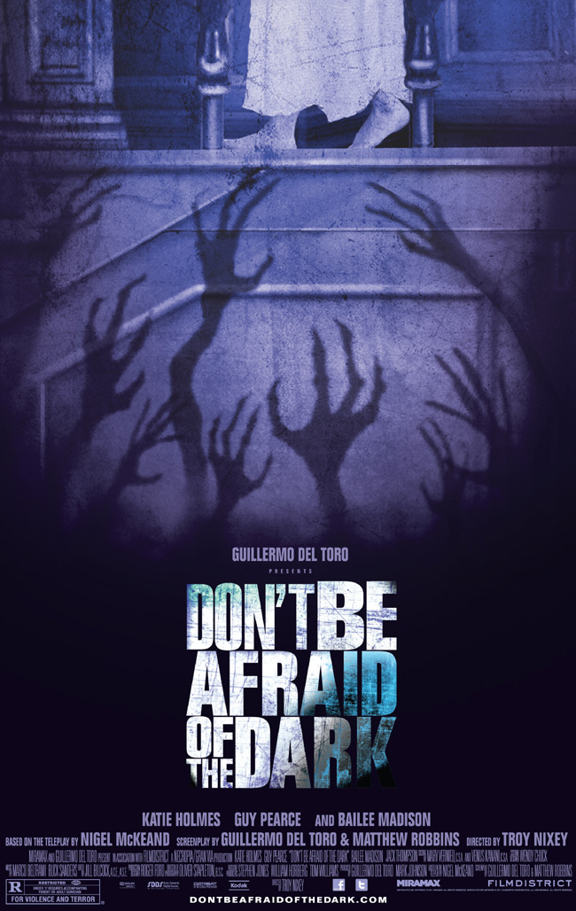 The movie poster for Don't Be Afraid of the Dark with Katie Holmes and Guy Pearce
