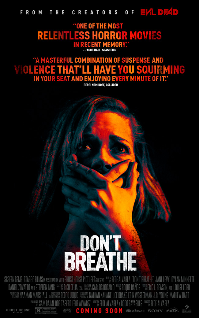 The movie poster for Don't Breathe from the creators of Evil Dead