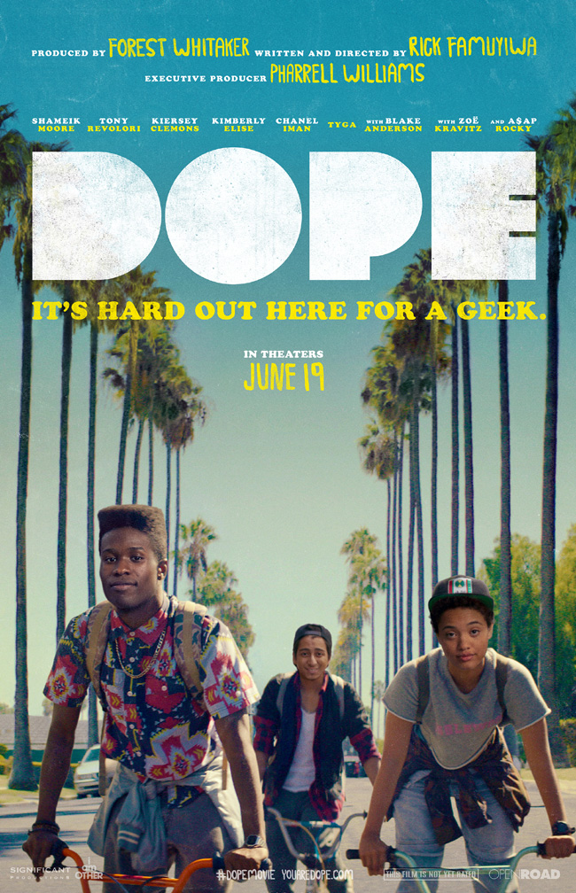 The movie poster for Dope starring Shameik Moore from producer Forest Whitaker