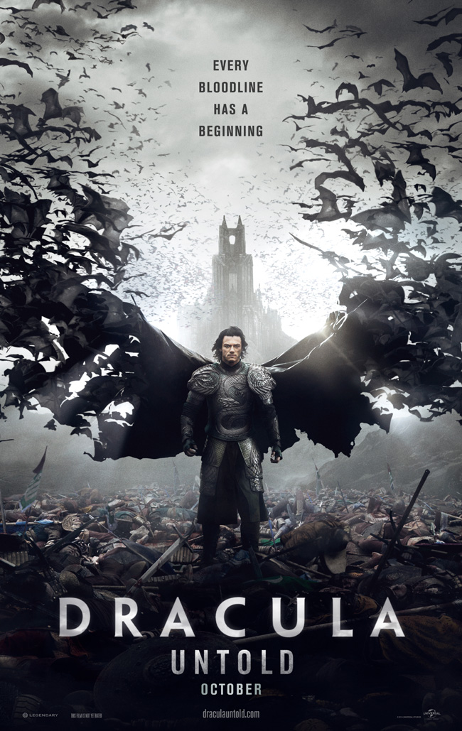 The movie poster for Dracula Untold starring Luke Evans
