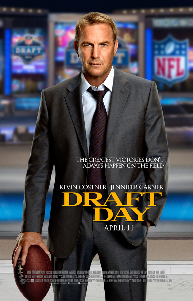 The movie poster for Draft Day starring Kevin Costner and Jennifer Garner