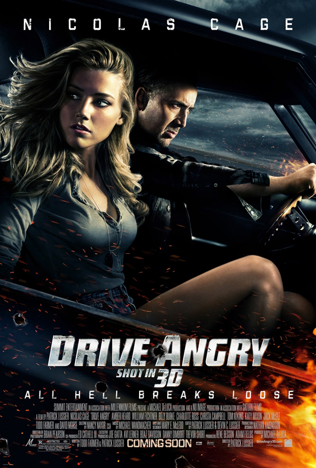 The movie poster for Drive Angry 3D with Nicolas Cage, Amber Heard and William Fichtner
