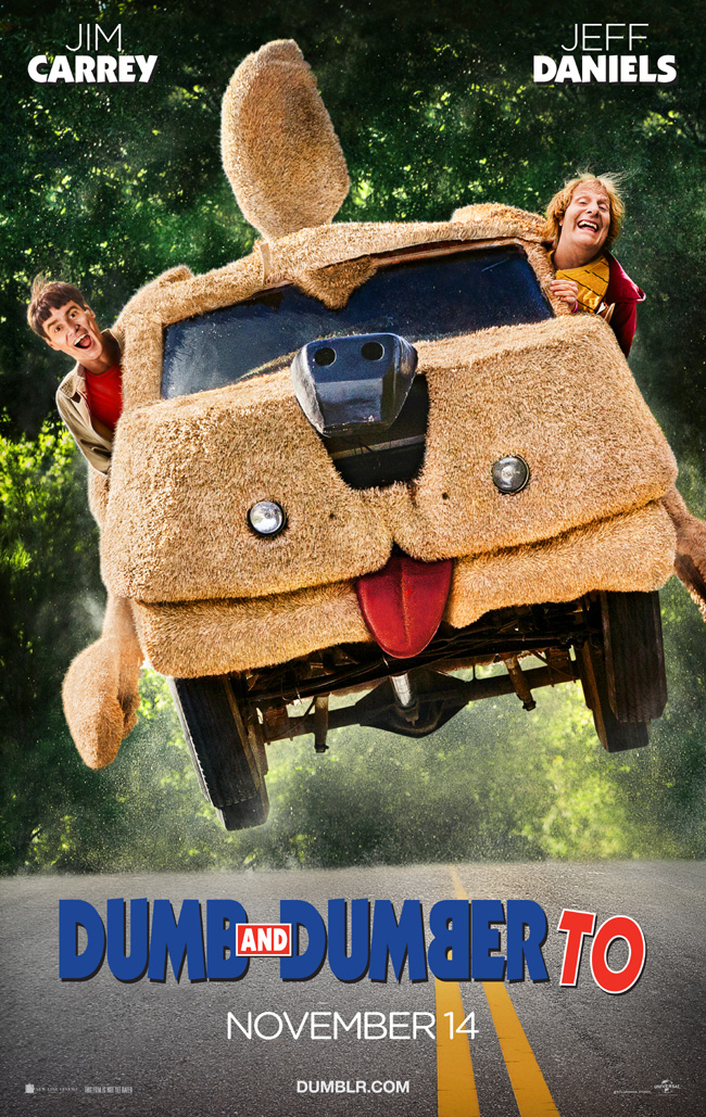 The movie poster for Dumb and Dumber To starring Jim Carrey and Jeff Daniels