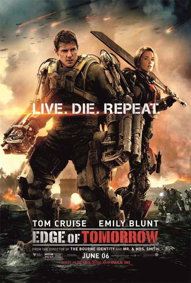 The movie poster for Edge of Tomorrow starring Tom Cruise and Emily Blunt