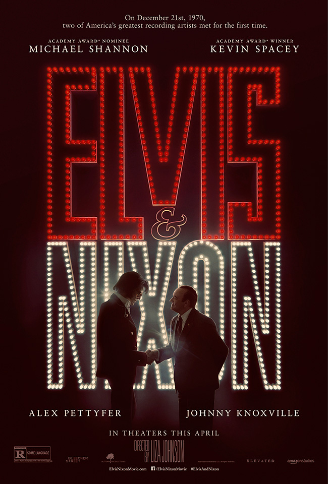 The movie poster for Elvis and Nixon starring Michael Shannon and Kevin Spacey