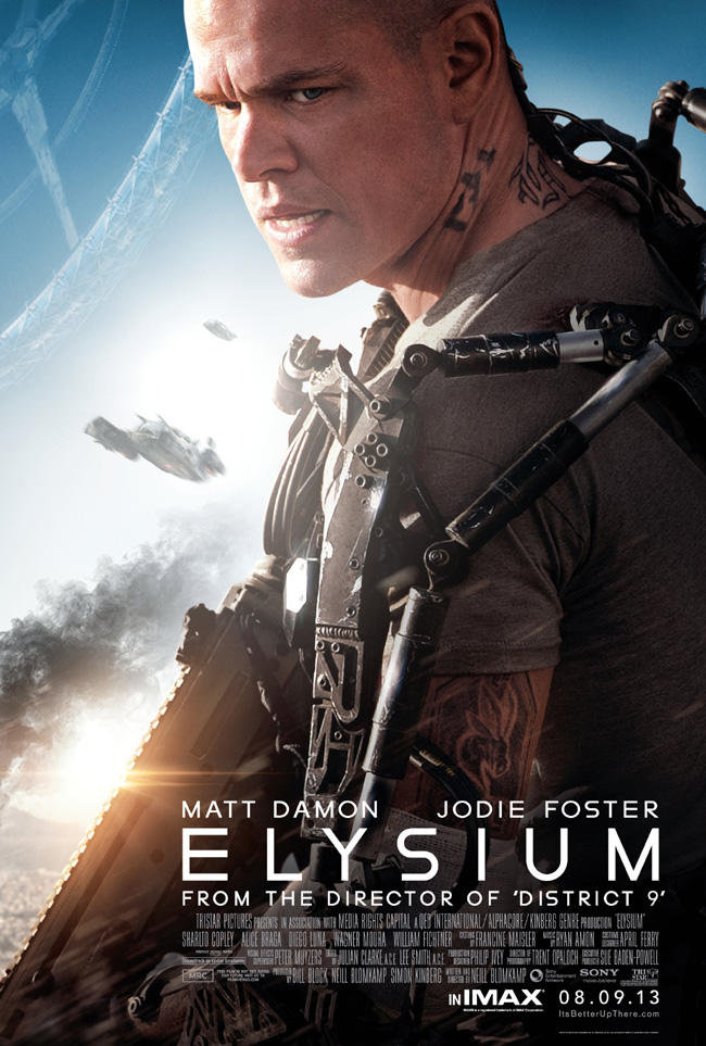 The movie poster for Elysium starring Matt Damon and Jodie Foster