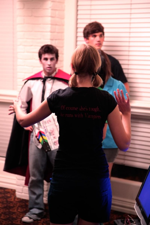 Emily Hagins directs Patrick Delgado and Santiago Dietche on the set of My Sucky Teen Romance.