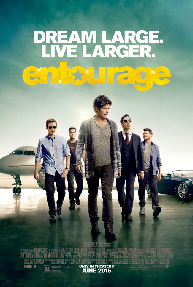 The movie poster for Entourage starring Jeremy Piven and Mark Wahlberg