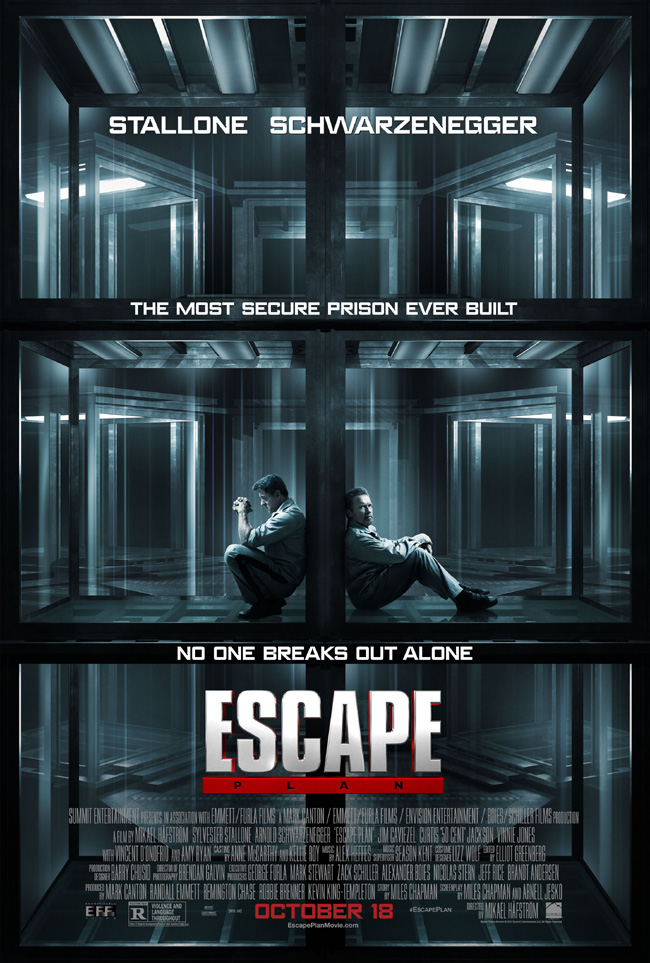 The movie poster for Escape Plan starring Sylvester Stallone and Arnold Schwarzenegger