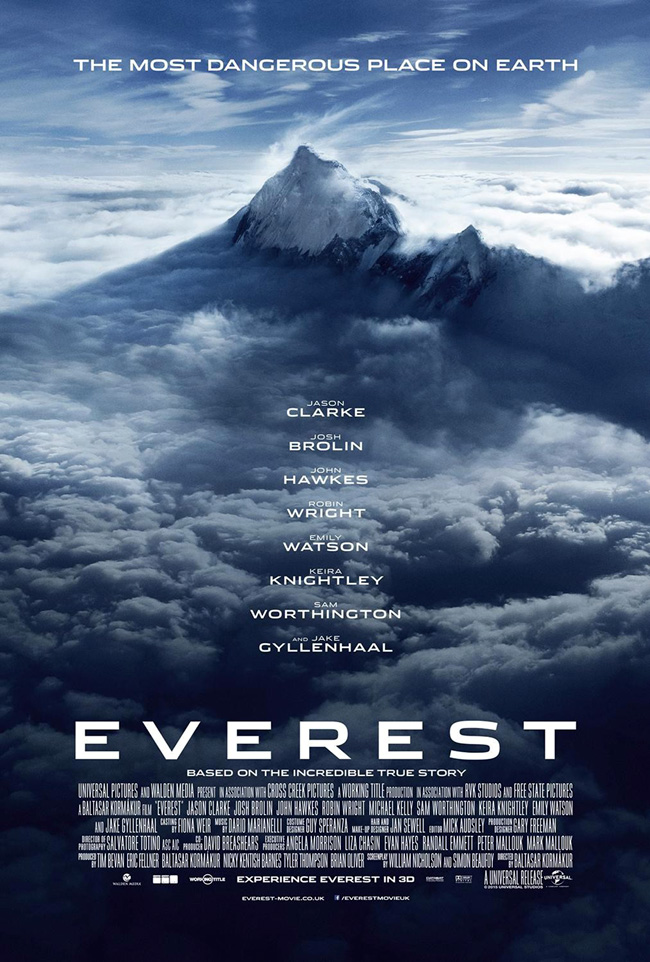 The movie poster for Everest starring Jason Clarke, Jake Gyllenhaal and Keira Knightley