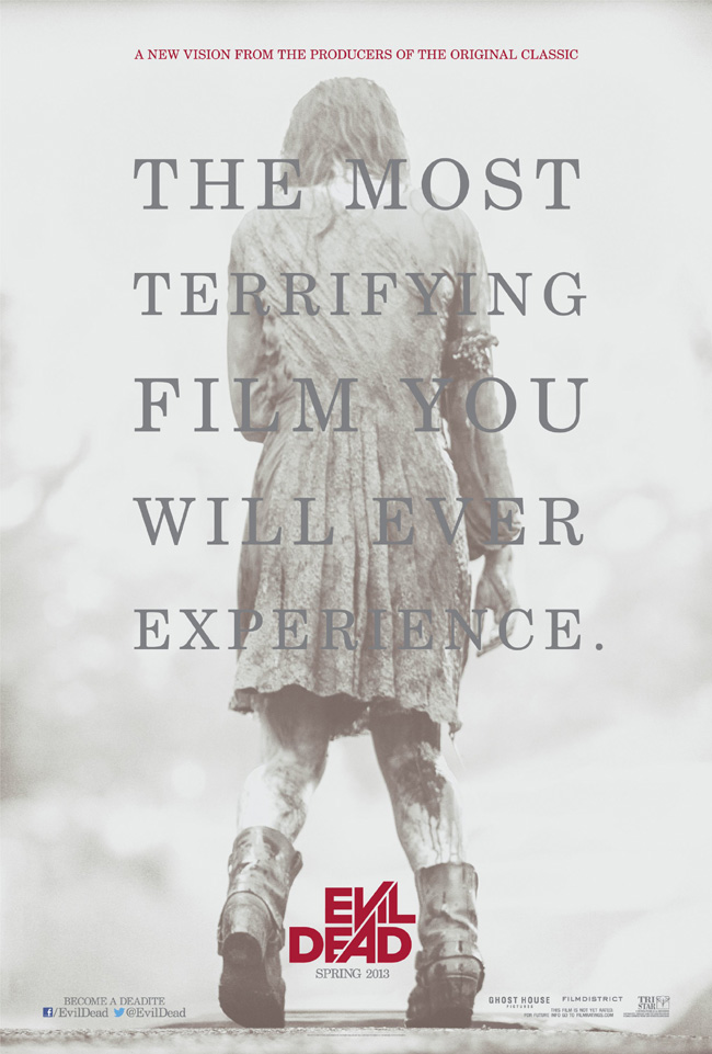 The movie poster for Evil Dead from Juno writer Diablo Cody