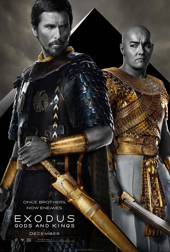 The movie poster for Exodus: Gods and Kings starring Christian Bale