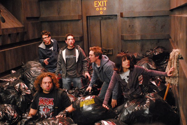 Jay Baruchel (Windows), Dan Fogler (Hutch), Chris Marquette (Linus), Sam Huntington (Eric) and Kristen Bell (Zoe) star in Kyle Newman's Fanboys.