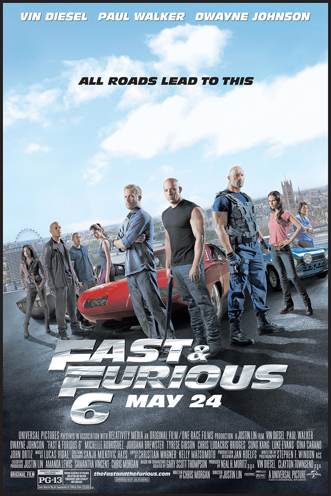 The movie poster for Fast and Furious 6 starring Dwayne Johnson and Vin Diesel