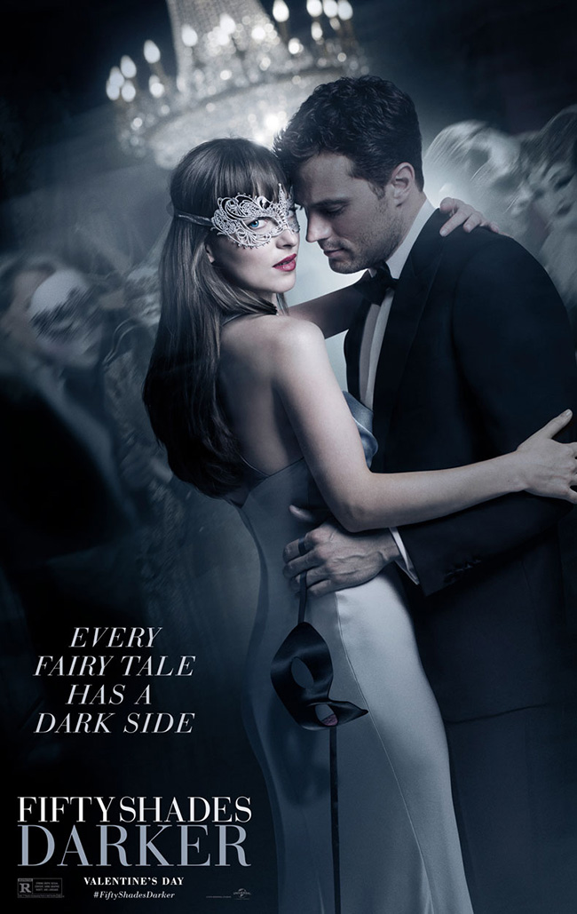 The movie poster for Fifty Shades Darker starring Jamie Dornan and Dakota Johnson