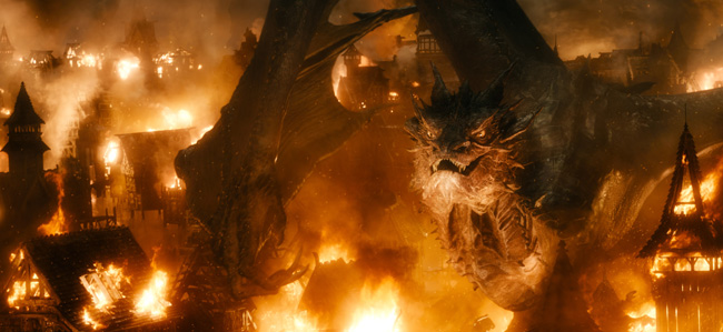 Benedict Cumberbatch as Smaug in The Hobbit: The Battle of the Five Armies