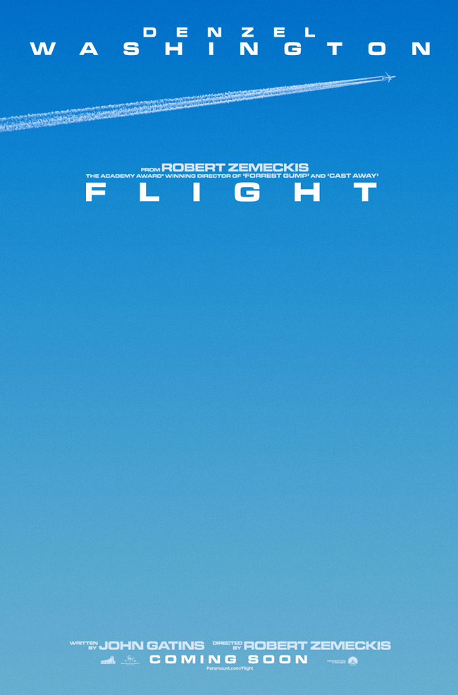 The movie poster for Flight starring Denzel Washington from director Robert Zemeckis