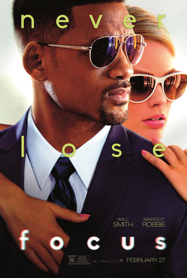 The movie poster for Focus starring Will Smith and Margot Robbie