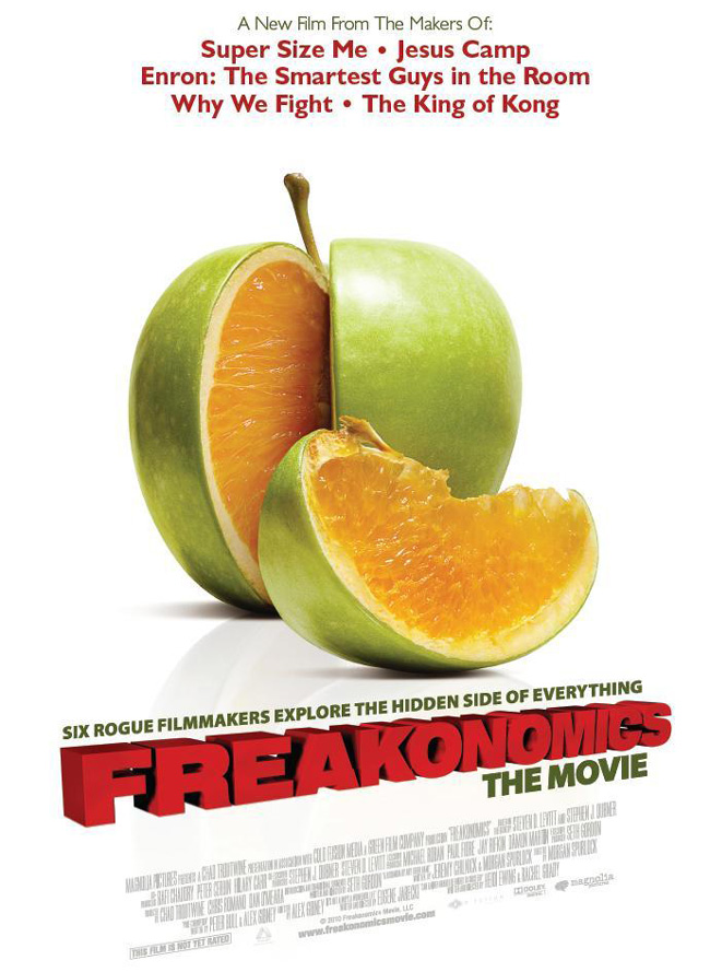 The Freakonomics movie poster from the makers of Super Size Me