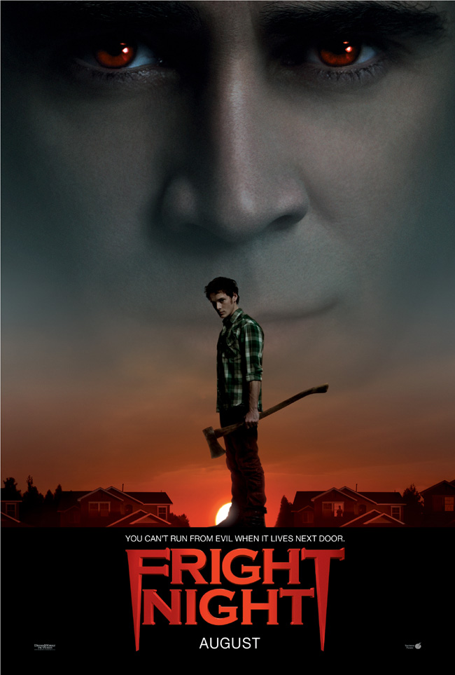 The movie poster for Fright Night with Colin Farrell, Anton Yelchin and Toni Collette