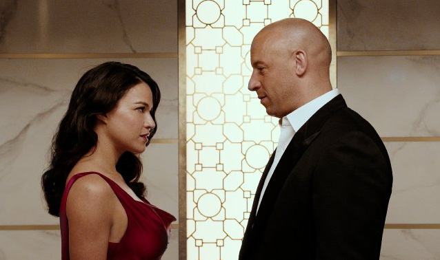 Michelle Rodriguez and Vin Diesel in Furious 7
