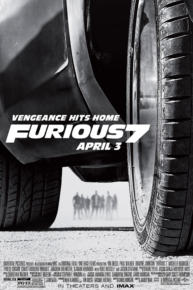 The movie poster for Furious 7 starring Vin Diesel, Paul Walker, Dwayne Johnson and Michelle Rodriguez