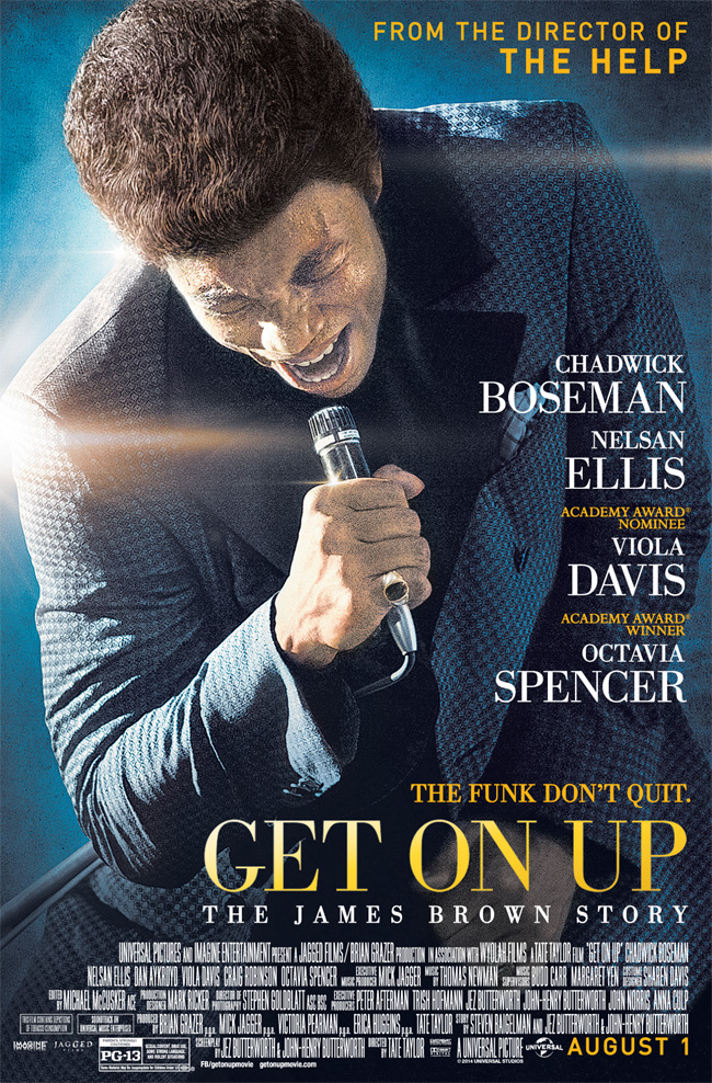 The movie poster for Get on Up starring Chadwick Boseman as James Brown