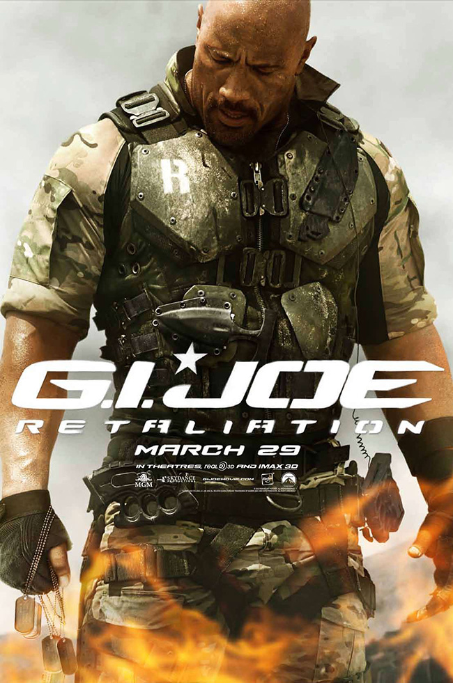 The movie poster for G.I. Joe: Retaliation starring Dwayne Johnson and Channing Tatum