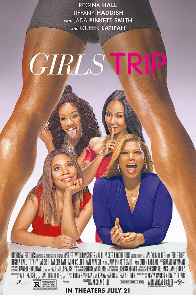 The movie poster for Girls Trip starring Jada Pinkett Smith and Queen Latifah
