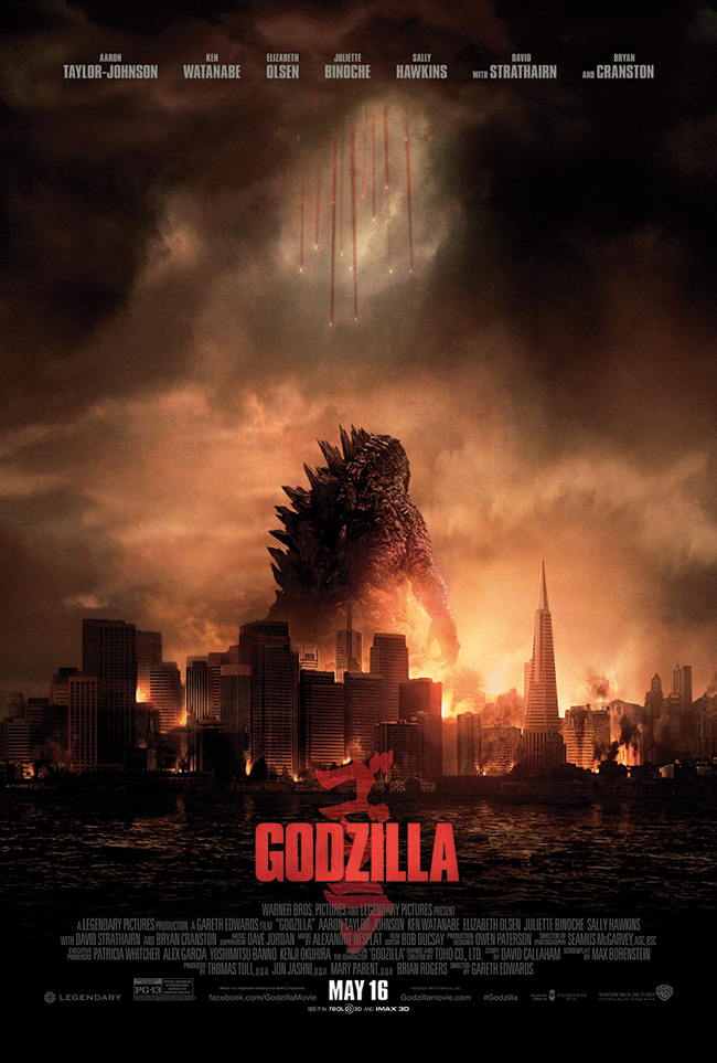 The movie poster for Godzilla starring Elizabeth Olsen and Aaron Taylor-Johnson