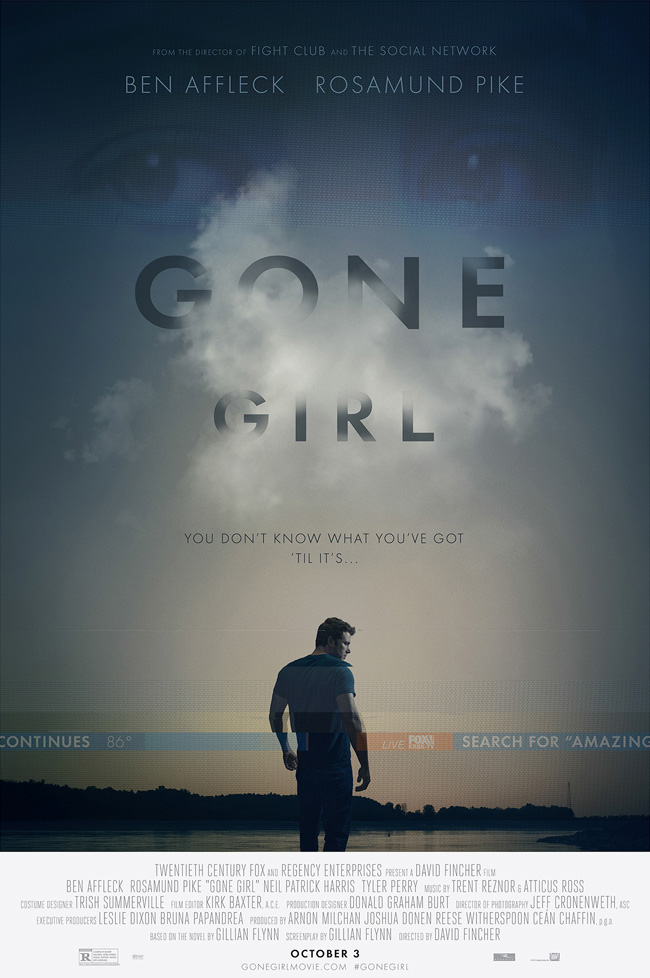 The movie poster for Gone Girl starring Ben Affleck and Rosamund Pike