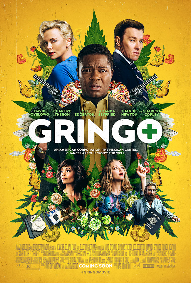 The movie poster for Gringo starring David Oyelowo, Charlize Theron and Joel Edgerton