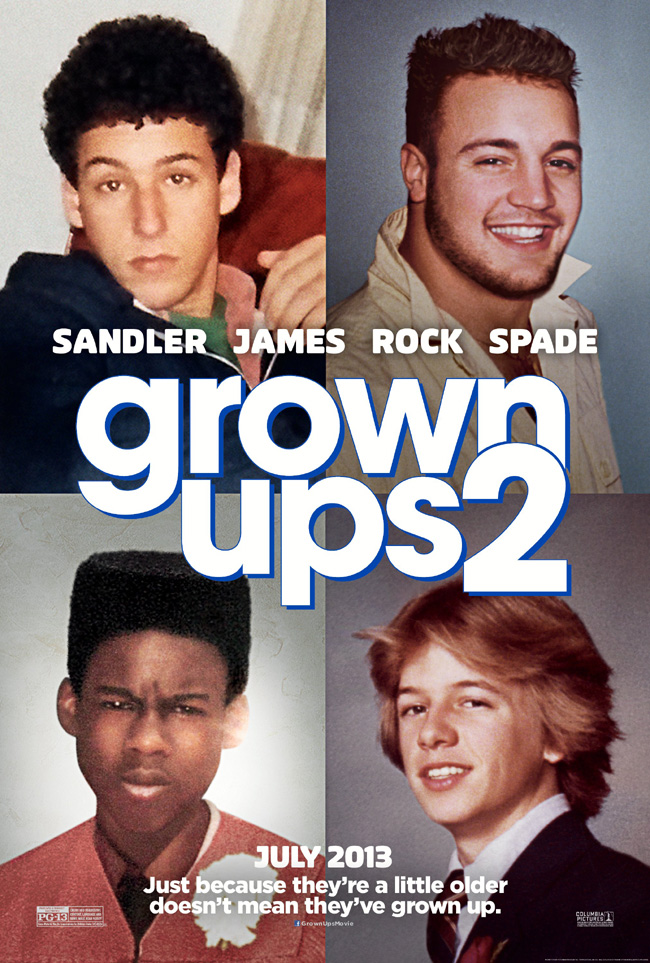 The movie poster for Grown Ups 2 with Adam Sandler and Kevin James