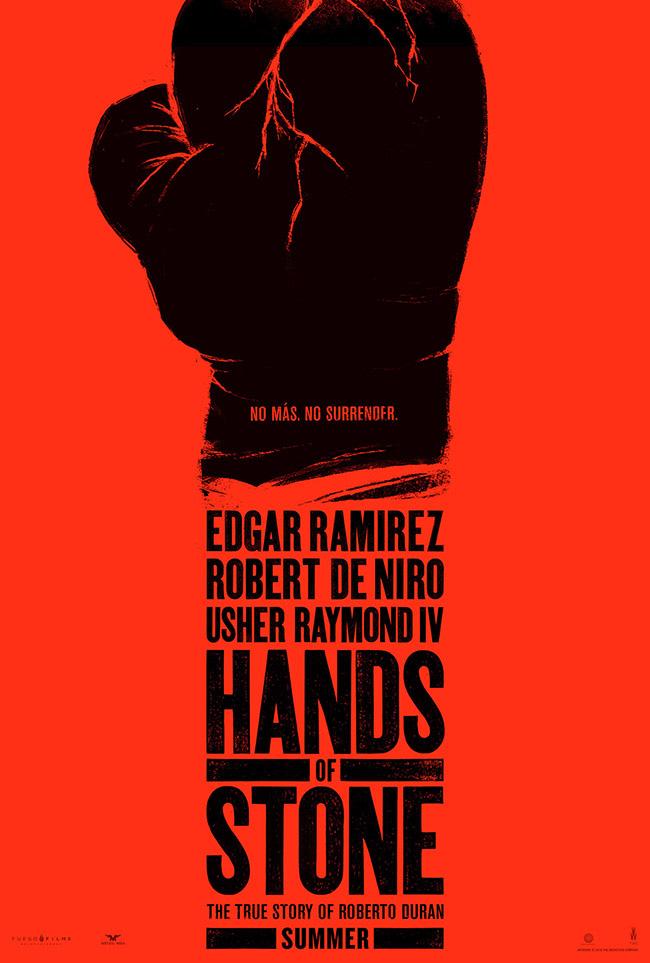 The movie poster for Hands of Stone starring Edgar Ramirez and Robert De Niro