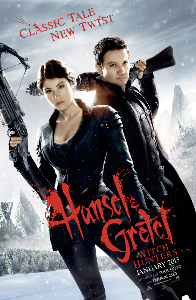 The movie poster for Hansel and Gretel: Witch Hunters with Jeremy Renner and Gemma Arterton