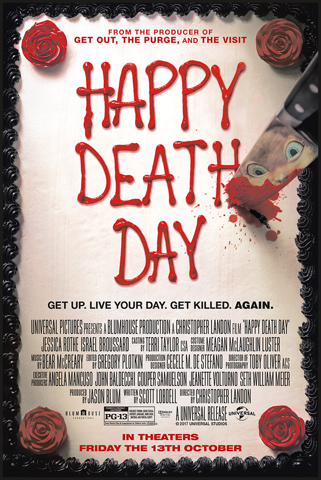 The movie poster for Happy Death Day from horror producer Jason Blum