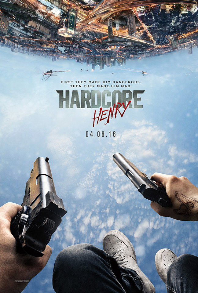 The movie poster for Hardcore Henry starring Sharlto Copley