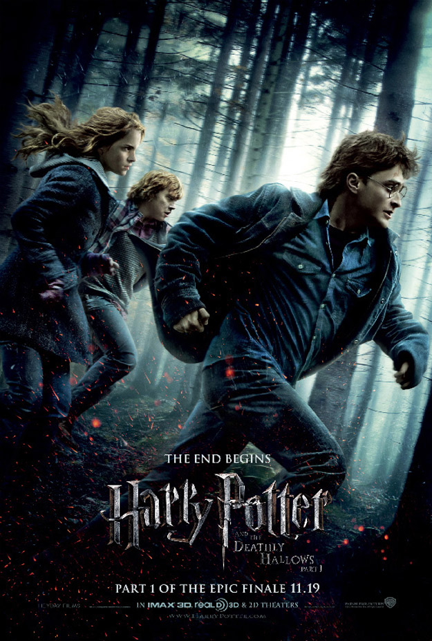 The movie poster for Harry Potter and the Deathly Hallows: Part 1 with Daniel Radcliffe, Ralph Fiennes and Alan Rickman